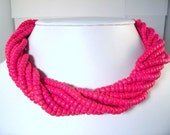 Vintage Hot Pink Multi Strand Beaded Necklace