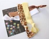 "Knotted Elastic Hair Ties / Bracelets No Tug "" Giraffe Girl "" Bundle of Four (4) Giraffe, White, Yellow and Milk Chocolate"
