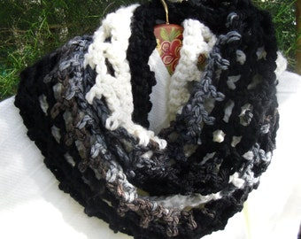 Cozy and soft  Infinity scarf neck warmer chrochet in black, grey, brown, and cream