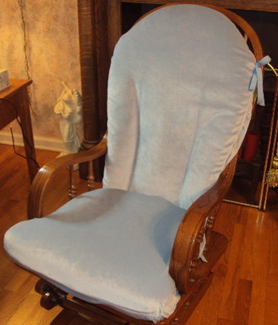 Soft Blue  PLUSH Glider Rocker SlipCover - Replacement Covers for your cushions - Many Colors - Family Room or Nursery