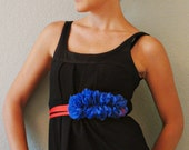 Ruffle Grosgrain Ribbon Wrap Belt - Red and Royal Blue