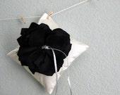 Black Tie Wedding Ring Pillow - Black and Ivory Dupioni Silk Flower
