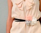 Pink Polka Dot Trio - Fabric Flower Belt with Black Ribbon