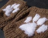 paw print fingerless mitts