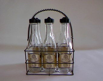 French Vintage Wire Basket With Bottles