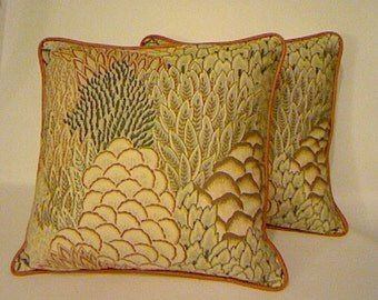 Throw Pillow Covers / Designer Fabric / Handmade / Vintage Textile / Home Decor /