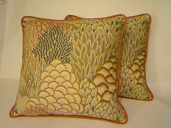 Throw Pillow Covers / Designer Fabric / Handmade / Vintage