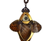 ONDINE / Gold Butterfly Necklace with Secret Blades / Free Shipping