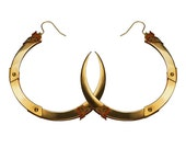 ROSE THORN / Large Gold Hoop Earrings / Free Shipping