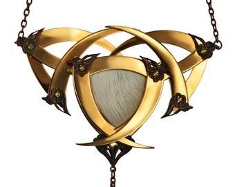 JUPITER / Gold Crowned Blade Shield Medallion / Free Shipping