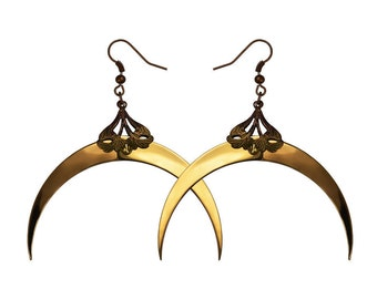 CRESCENT MOON / Gold Dangle Earrings / Free Shipping