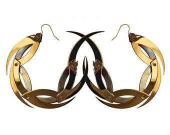 DRAGON MOON / Large Gold and Copper Dragon Moon Hoop Earrings / Free Shipping
