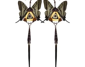 SYLPH / Swallowtail Butterfly Kanzashi Long Dangle Earrings