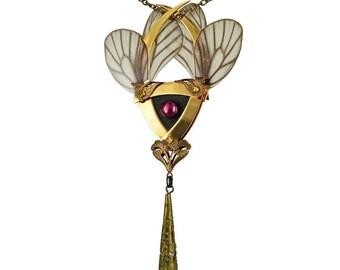 YOSEI / Gold Butterfly Kanzashi Necklace