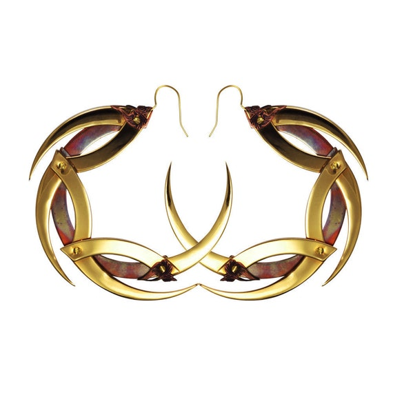 DRAGON MOON / Medium Gold and Copper Dragon Moon Hoop Earrings / Free Shipping