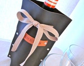 leather wine bottle cover cozy brown cheers personalized customizable