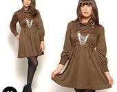 Vintage 70s Boho Hippie Brown Cowl Neck Empire Waist Tunic Dress Size M Medium 6 8