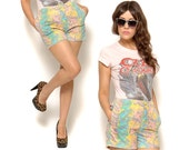80s High Waisted Shorts / Bright Pastel Abstract Print Hot Pants / Size S M Small Medium / Urban Hipster