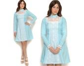 60s Babydoll Dress Pastel Blue Puff Sleeves Mini Dress / White Lace Ruffle Bib Collar / Boho Hippie Mod / Size S Small