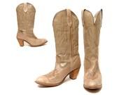 80s Cowboy Boots Capezio Western Beige Antique Patina Leather / Size 10