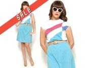 Memorial Sale 80s Color Block Mini Dress Pastel Abstract Print/ Size M Medium 6 8 / Vintage Cap Sleeve Shirt Dress