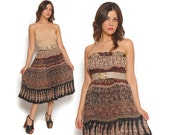70s Boho Maxi Skirt Brown Black Floral Ethnic Batik India Drawstring Gauze Convertible Dress / Hippie Gypsy Bohemian / Size OS One Size