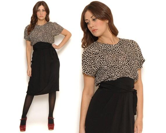 80s Giraffe Print Dress/ Blouson Midi Wrap Dress Pencil Skirt Batwing Sleeves / Sexy Retro Pinup Bombshell / Size M L Medium Large