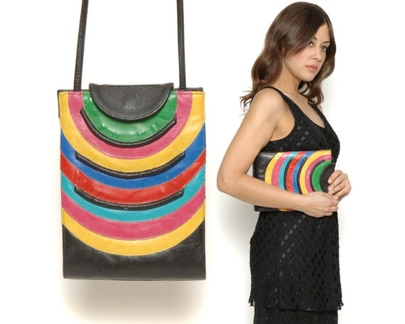 80s Rainbow Clutch / Color Block Striped Hand Bag / Black Vintage Leather Purse / Urban Hipster