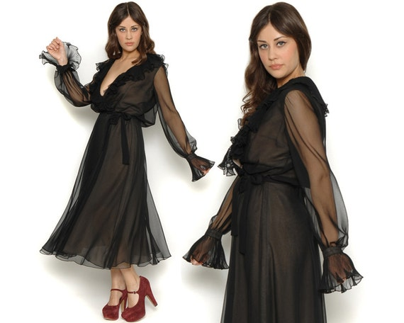 John Anthony 70s Wrap Dress / Black Sheer Chiffon Ruffled Pleated Bell Sleeves Dress / Old Hollywood Glam / Size L Large
