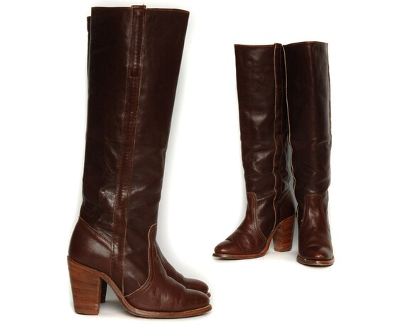 Vintage 70s Frye Campus Boots Chocolate Brown Tall Riding / High Heel Western Country Boho / Size 5