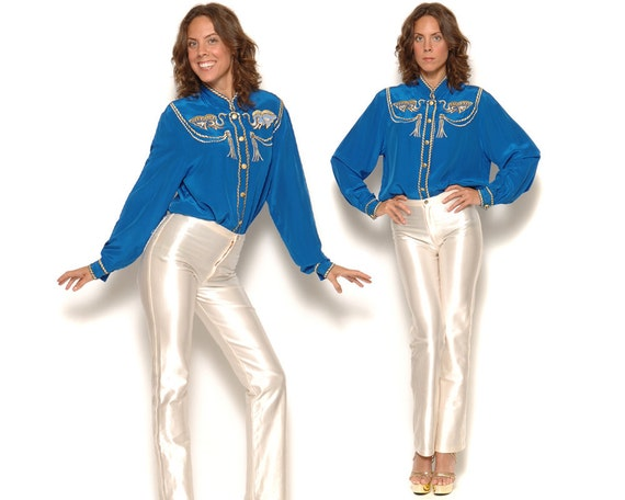 Vintage 90s Bob Mackie Western Collared Shirt / Royal Blue Silk Gold Rope Elephants Tassels Blouse / Size M L Medium Large