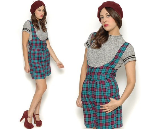 Vintage Tartan Plaid Knit Jumper / Teal Pink High Waist Shorts Suspenders / Size S Small 2 4 / 90s Grunge Revival Indie