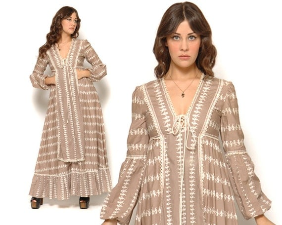 70s Gunne Sax Dress Mauve Cherub Novelty Print Bishop Sleeves Victorian / Boho Hippie / Size S M Small Medium
