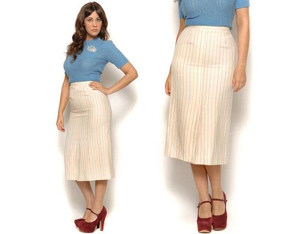 70s tea length pencil skirt rainbow stripe preppy