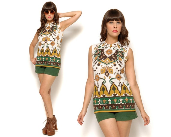 Vintage 70s White Sleeveless Psychedelic Print Hippie Tunic Top Size S M Small Medium 4 6
