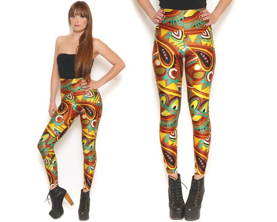 80s High Waisted Spandex Pants Tribal Graphic Print Color Block Leggings Stretch Pants High Rise / Hipster Urban Edgy / Size XS Extra Small