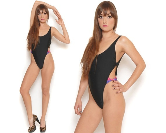 80s French Cut Swimsuit Black High Cut Bathing Suit Sexy Cut Out Bow Plunging Back Tank Suit / Urban Hipster / Size S M Small Medium
