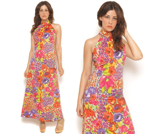 70s Sundress Watercolor Floral Maxi Halter Dress Bright Vibrant Sleeveless Empire Waist / Boho Hippie Garden Party / Size S Small