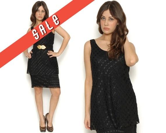 Sheer Black 80s Drop Waist Metallic Ribbon Squares Dress / Sleeveless Vintage Party Dress LBD / Size M L Medium Large