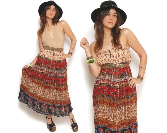 70s Boho Maxi Skirt Elephant Print Ethnic Batik India Metallic Drawstring Gauzy Convertible Dress / Hippie Gypsy Bohemian / Size OS One Size
