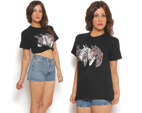 80s T Shirt Black Horses Novelty Print Kitsch / Equestrian Boho Hipster / Unisex Size S Small