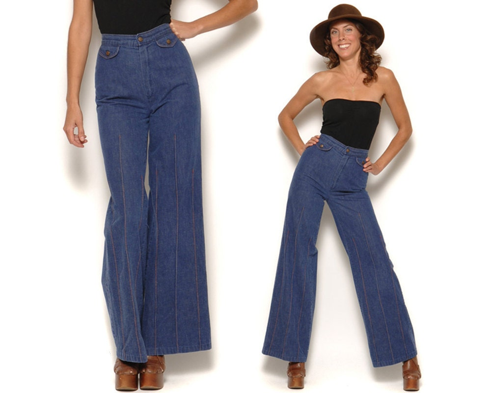 Vintage High Waisted Wide Leg Jeans / 70s Dark Denim Bell