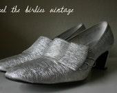 Vintage Socialite Silver Sparkle Shoes