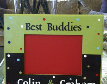 Personalized Hand Painted  Polka Dots Best Buddies Picture Frame