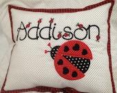 Childs Personalized Applique Ladybug Pillow