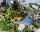 """Minature Forest Scene,""""The Guardian"""". Fairy, Faery, Doll House Garden, Handmade in the USA"""