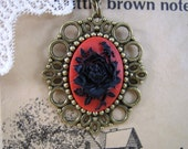 Black Rose Red Cameo Necklace with Fancy Brass Setting