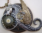 "Steam Punk Sci Fi Dragon/Sea Horse Necklace,  ""The Time Writer"""