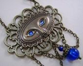 Filigree Mask Necklace, Blue Eyes,Bead,Chains, Mardi Gras, Drama, Theatre, Original, Handmade