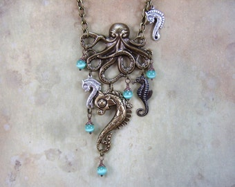 "Steampunk Jewelry, Handmade Jewelry, Necklace, ""Octavias Riding Academy"", Octopus Necklace, Cosplay Necklace"